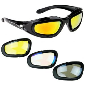 9a49b1794b87 AULLY PARK Polarized Motorcycle Riding Glasses Black Frame with 4 Lens Kit  for Outdoor Activity Sport · top rated aully motorcycle glasses for  nightriding